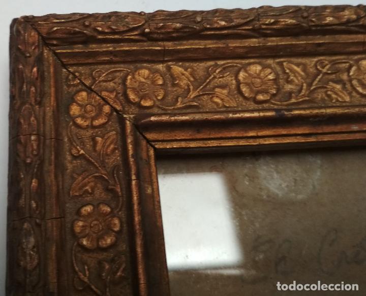 Antigüedades: ANTIGUO MARCO DE MADERA CON CRISTAL.Dorso sello de Ramon Santorroman de Barbastro. - Foto 5 - 257394200