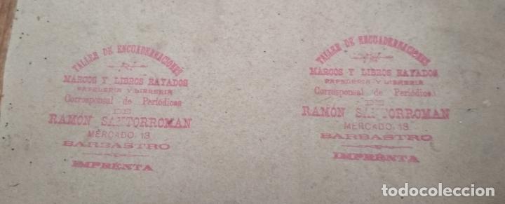 Antigüedades: ANTIGUO MARCO DE MADERA CON CRISTAL.Dorso sello de Ramon Santorroman de Barbastro. - Foto 6 - 257394200