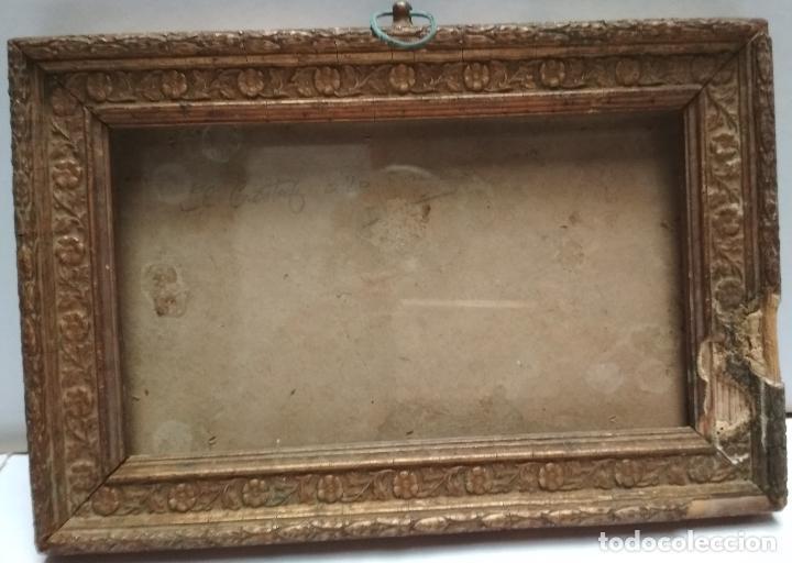 ANTIGUO MARCO DE MADERA CON CRISTAL.DORSO SELLO DE RAMON SANTORROMAN DE BARBASTRO. (Antigüedades - Hogar y Decoración - Marcos Antiguos)