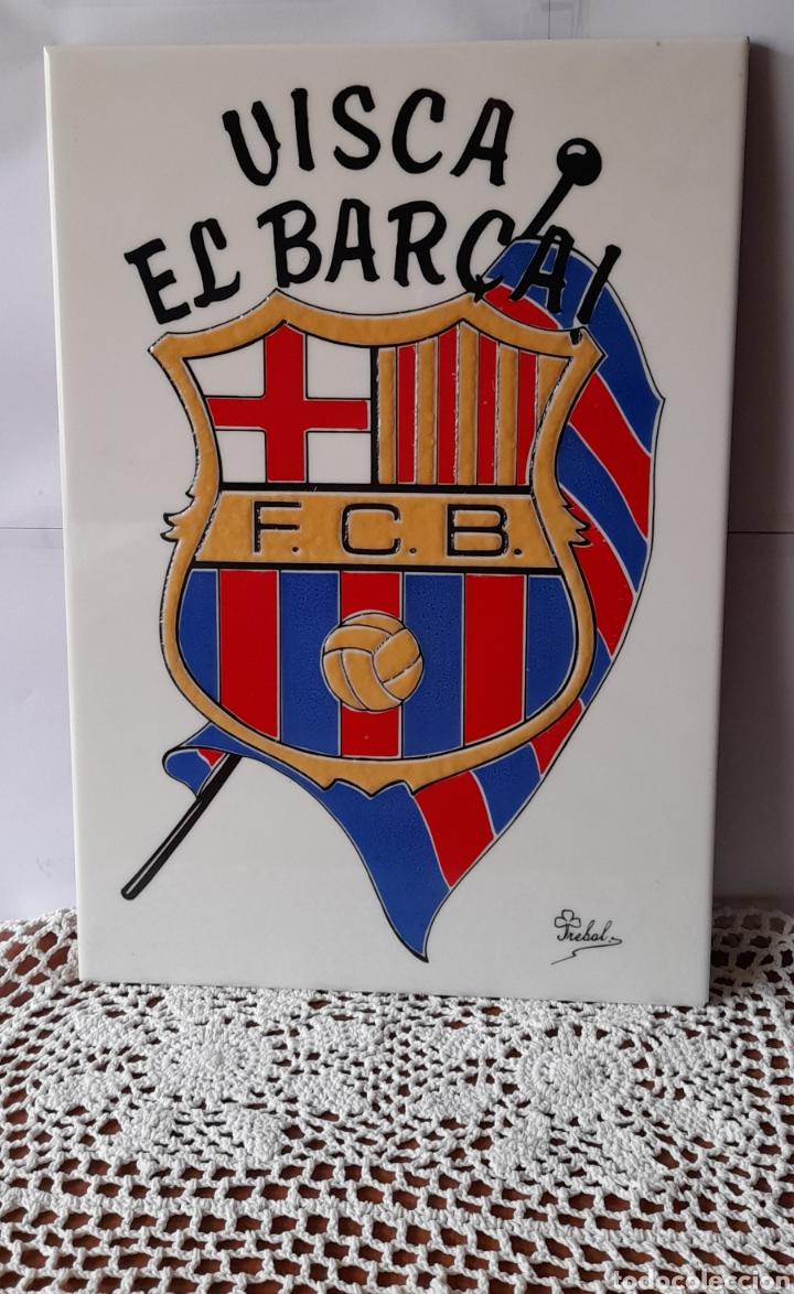 Antigüedades: Cerámica TRÉBOL Escudo F. C. Barcelona. 38 X 26 Cm. Ver fotos. - Foto 2 - 257423615