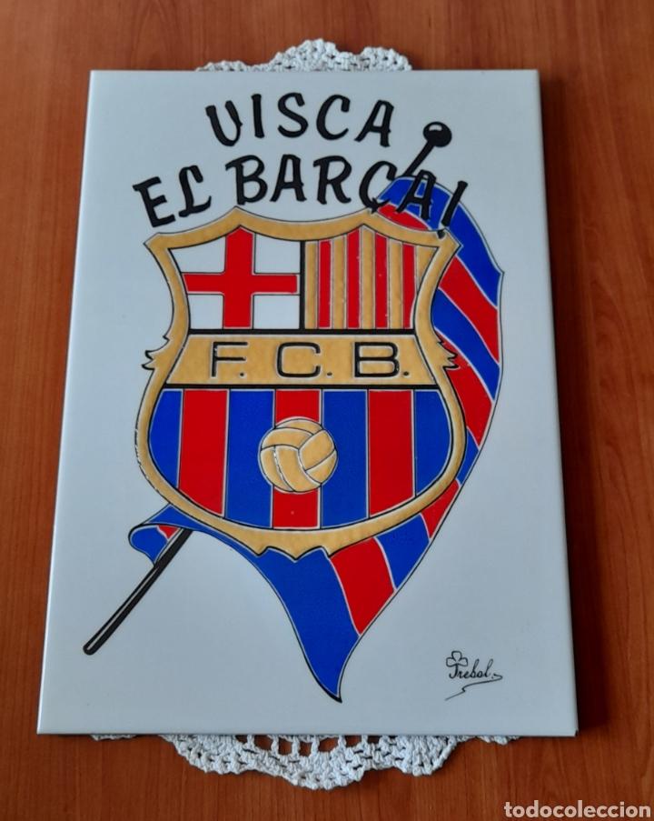 Antigüedades: Cerámica TRÉBOL Escudo F. C. Barcelona. 38 X 26 Cm. Ver fotos. - Foto 5 - 257423615