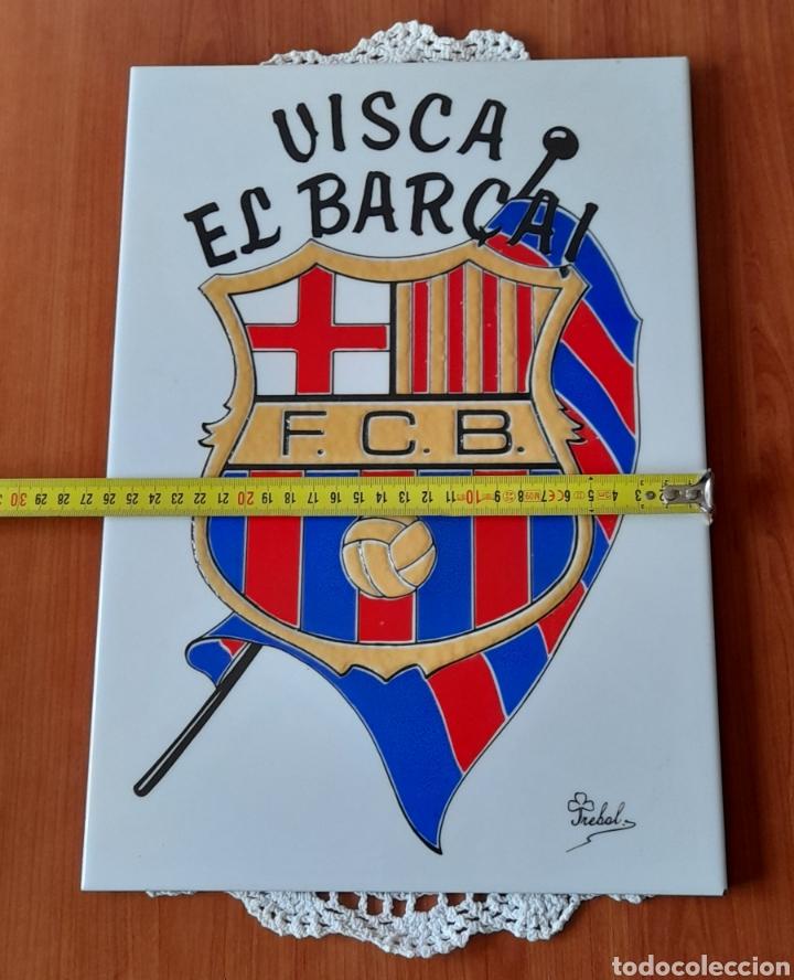 Antigüedades: Cerámica TRÉBOL Escudo F. C. Barcelona. 38 X 26 Cm. Ver fotos. - Foto 7 - 257423615