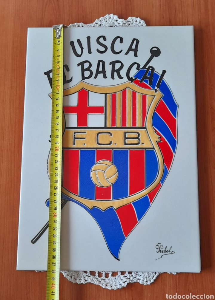 Antigüedades: Cerámica TRÉBOL Escudo F. C. Barcelona. 38 X 26 Cm. Ver fotos. - Foto 8 - 257423615