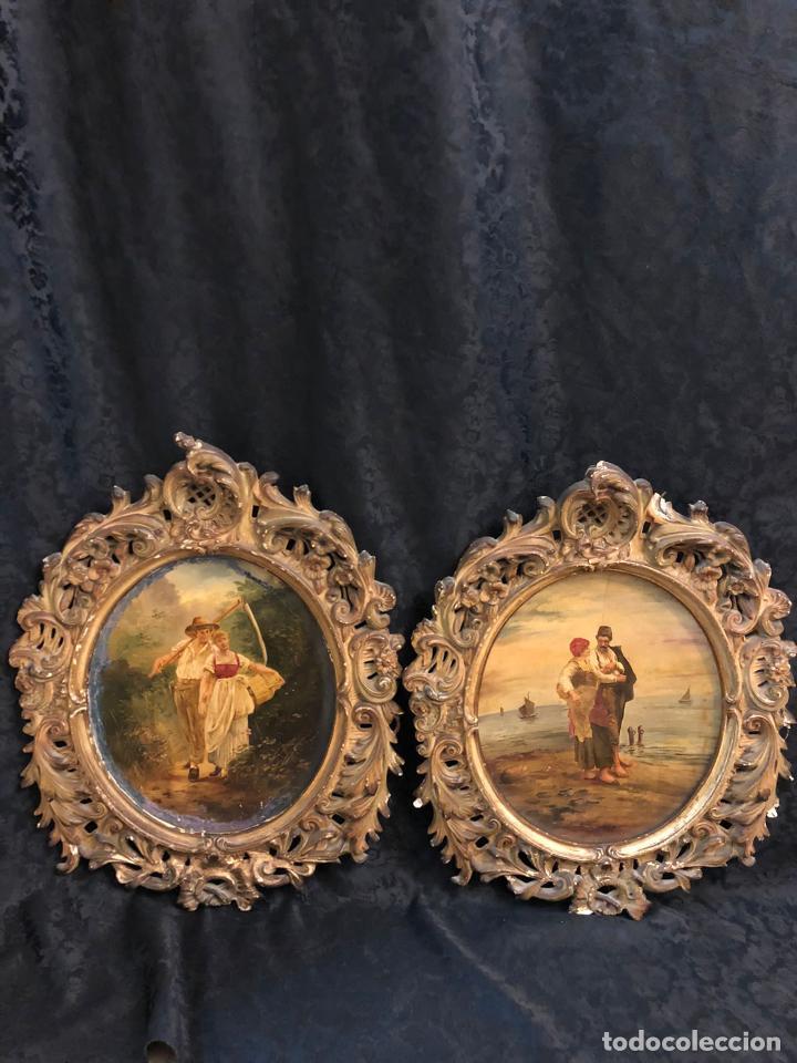 PAREJA DE MARCOS DE ESTUCOS PINTADOS ÓLEOS CON ALGUN DEFECTO RESEÑADO EN FOTOS (Antigüedades - Hogar y Decoración - Otros)