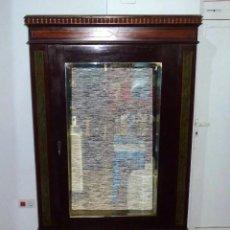 Antiquités: ANTIGUO ARMARIO DE LUNA,ESPEJO BISELADO BUEN ESTADO.208 X 114 X 53 CM.. Lote 257455645