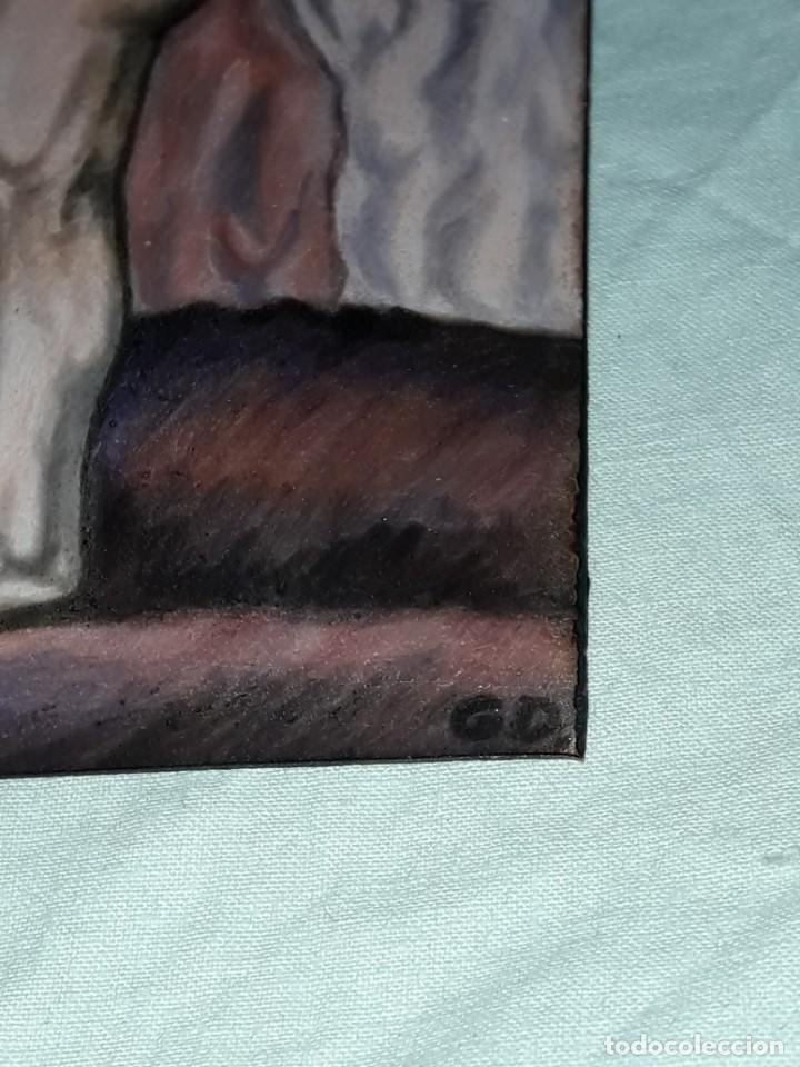 Antigüedades: Bella placa esmalte vidriado al fuego sobre metal pareja firmada G.D. - Foto 4 - 257455695