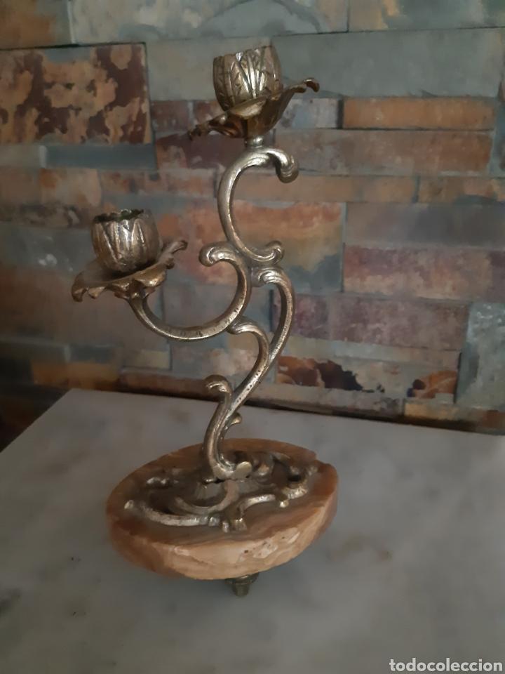Antigüedades: CANDELABRO BRONCE Y MARMOL - Foto 2 - 257465940