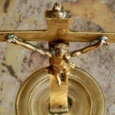 Antigüedades: ANTIGUO Y GRAN CRUCIFIJO PETITORIO DE BRONCE - RARA PIEZA DE IGLESIA - LITURGIAS - CRUZ - LIMOSNERO. Lote 257487655