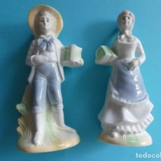 Antigüedades: CONJUNTO DE 2 FIGURAS DE PORCELANA - HOMBRE Y MUJER - VER FOTOS. Lote 257520665