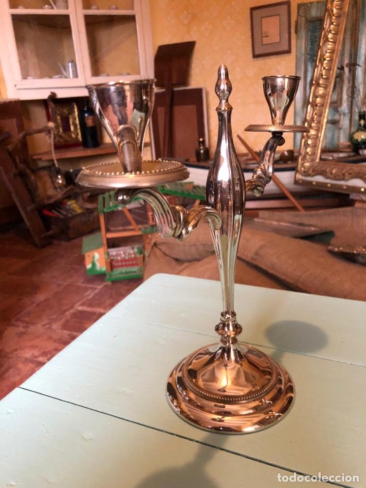 Antigüedades: PAREJA DE CANDELABROS DE ALPACA - Foto 4 - 257583990