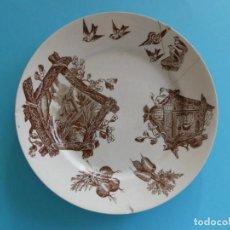 Antigüedades: PLATO DE CERAMICA DECORADO AVES FS. S. XIX - SELLO MARIANO POLA Y CIA - VER FOTOS. Lote 257595045