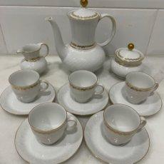 Antigüedades: ANTIGUO JUEGO DE CAFÉ ALEMÁN BAVARIA ORO. Lote 257732175