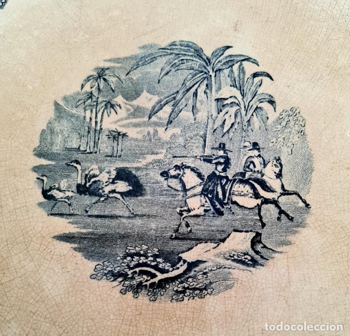 Antigüedades: DE COLECCION,INUSUAL FUENTE,BANDEJA LA CAZA DEL AVESTRUZ,CARTAGENA,(MURCIA),S.XIX - Foto 10 - 257734880