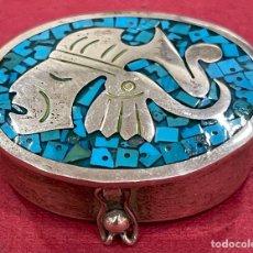 Antigüedades: PRECIOSA CAJA PASTILLERO, EN PLATA DE LEY, Y ESMALTE.. Lote 257965365