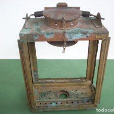 Antigüedades: ANTIGUO FAROL FERROVIARIO DE ILUMINACION INTERIOR DE UN FURGON - EN LATON Y COBRE. Lote 258003435