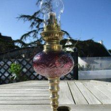 Antigüedades: MAGNIFICO QUINQUE LAMPARA PETROLEO RARA BASE BANDEJA. Lote 258012290