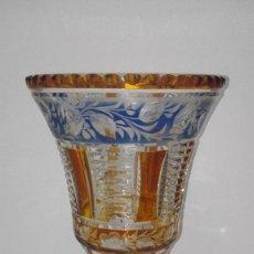 Antigüedades: PRECIOSO JARRÓN COPA DE CRISTAL DE BOHEMIA. Lote 258227030