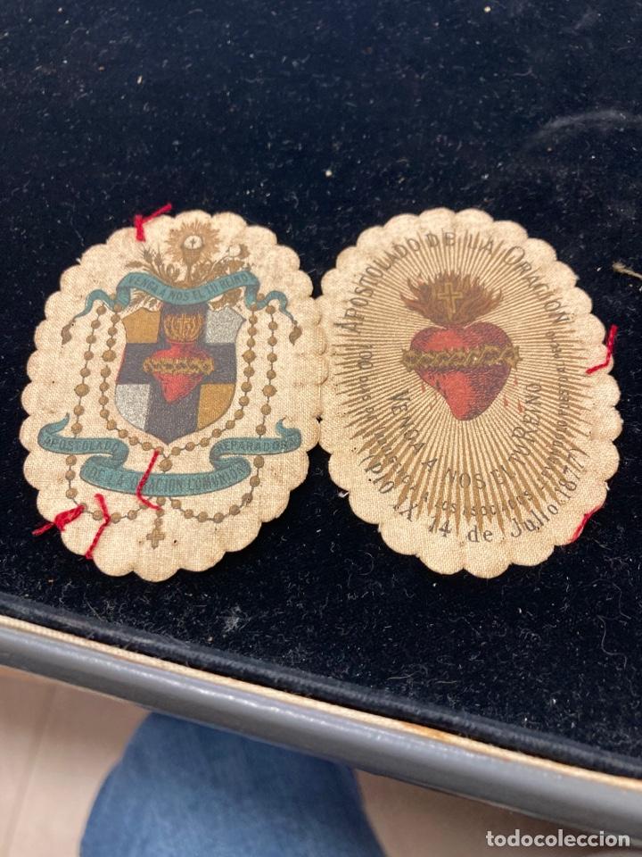 LOTE DE 2 ESCAPULARIOS ANTIGUOS (Antigüedades - Religiosas - Escapularios Antiguos)