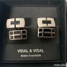 Antigüedades: GEMELOS DE ACERO INOXIDABLE - VIDAL & VIDAL.. Lote 258603555