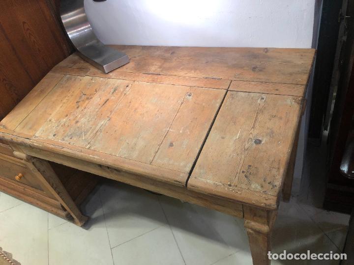 Antigüedades: ANTIGUO MESA BURO ESCRITORIO DE BODEGA EN PINO - MEDIDA 112X85X65 - Foto 3 - 258780285