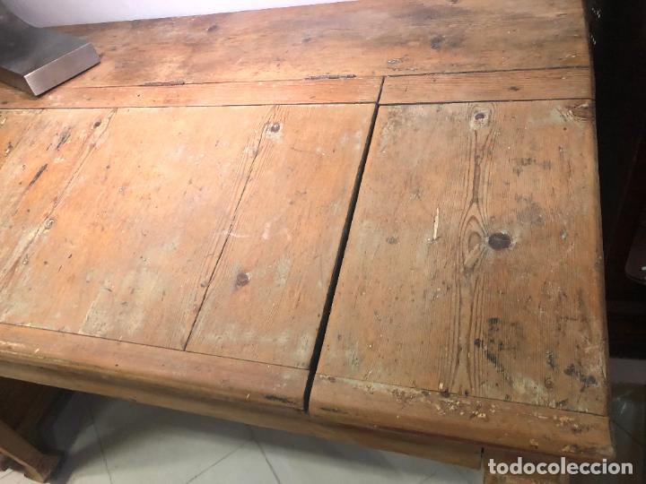 Antigüedades: ANTIGUO MESA BURO ESCRITORIO DE BODEGA EN PINO - MEDIDA 112X85X65 - Foto 7 - 258780285
