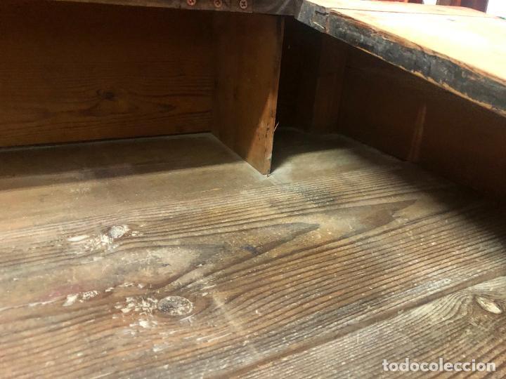 Antigüedades: ANTIGUO MESA BURO ESCRITORIO DE BODEGA EN PINO - MEDIDA 112X85X65 - Foto 10 - 258780285