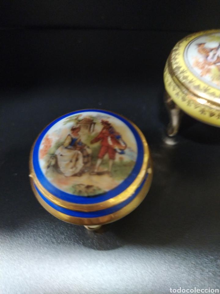 Antigüedades: Lote de dos pastilleros de porcelana Limoges y Calaryce - Foto 4 - 258790280