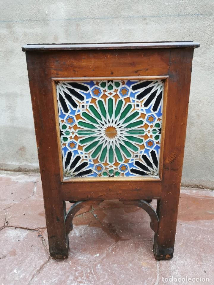 Antigüedades: Mueble macetero de madera y azulejos viuda de J. Mensaque.Sevilla.( 1916-1922) - Foto 6 - 259018620