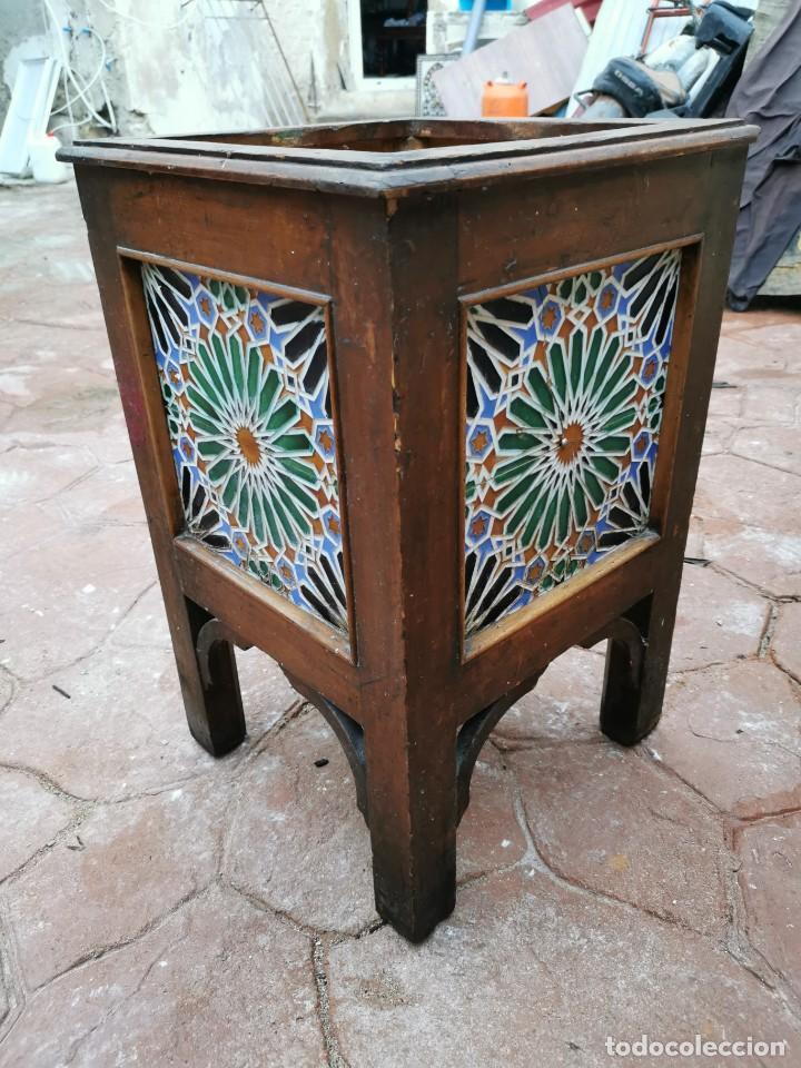 Antigüedades: Mueble macetero de madera y azulejos viuda de J. Mensaque.Sevilla.( 1916-1922) - Foto 12 - 259018620