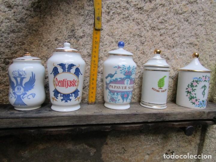 LOTE 5 BOTES ALBARELOS PORCELANA DE PUPLICIDAD LABORATORIOS JUSTE 1961/64 - POR SANTA CLARA VIGO + (Antigüedades - Porcelanas y Cerámicas - Santa Clara)