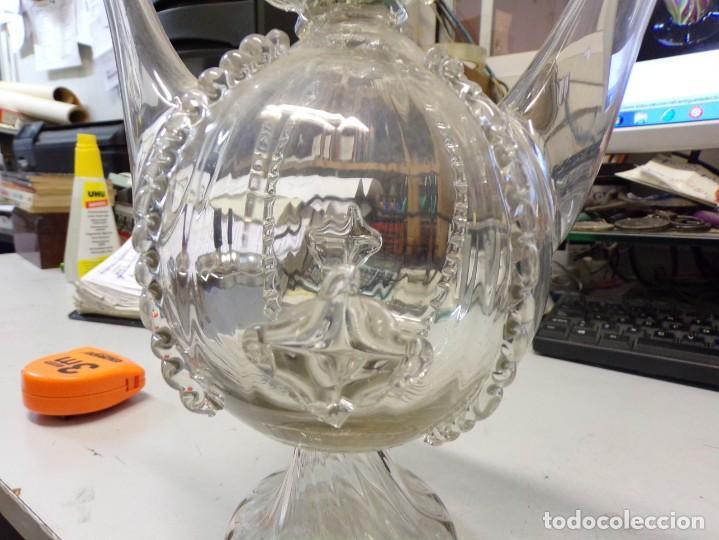 Antigüedades: canti botijo cristal vidrio trabajado catalan en buen estado - Foto 3 - 259231275