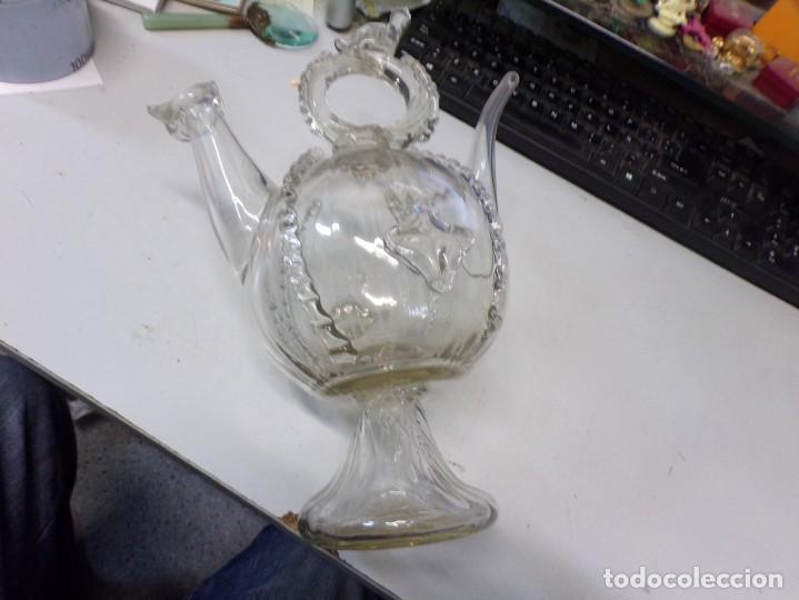 Antigüedades: canti botijo cristal vidrio trabajado catalan en buen estado - Foto 12 - 259231275