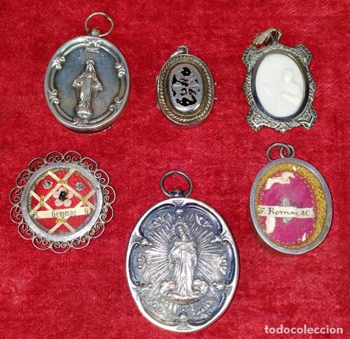 COLECCIÓN DE 6 RELICARIOS. PLATA. METAL. ESPAÑA. SIGLO XIX-XX (Antigüedades - Religiosas - Relicarios y Custodias)