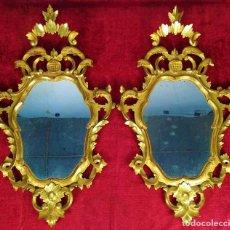 Antiquités: PAREJA DE CORNUCOPIAS. MADERA TALLADA Y DORADA. ESPEJOS ORIGINALES. ESPAÑA. SIGLO XIX-XX. Lote 259263895