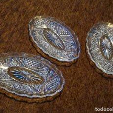 Antigüedades: 3 PLATOS OVALADOS DE CRISTAL PRENSADO.. Lote 259708045