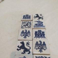 Antigüedades: BONITO LOTE DE 10 AZULEJOS ANTIGUOS VALENCIANOS ARRANCADOS DE LA PARED DE UN CORTIJO. Lote 259807025