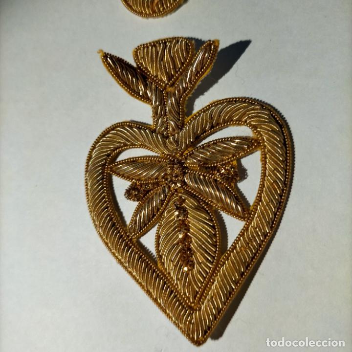 Antigüedades: canutillo y canutillo ingles, piezas bordadas en oro formando un cierre capa pluvial fajin broche - Foto 5 - 259933790