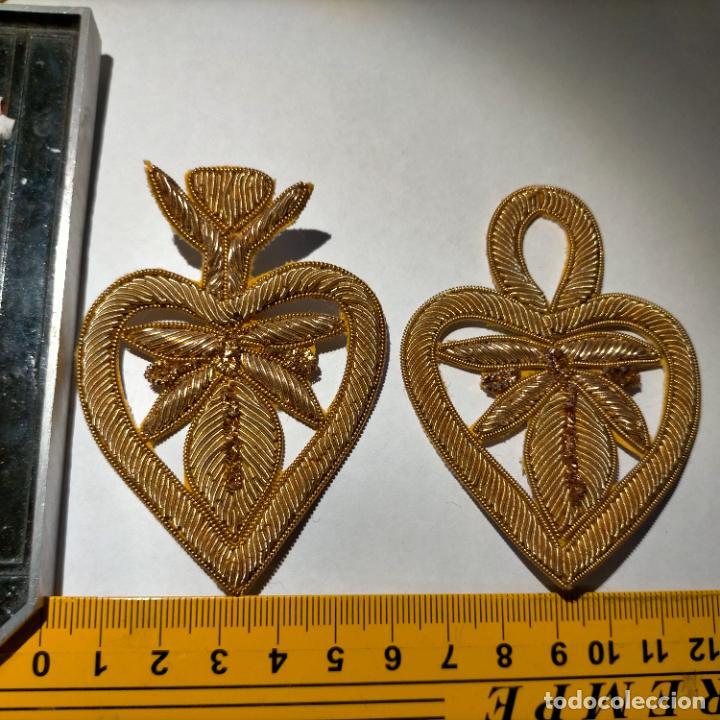 Antigüedades: canutillo y canutillo ingles, piezas bordadas en oro formando un cierre capa pluvial fajin broche - Foto 11 - 259933790