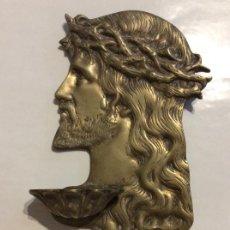 Antigüedades: ANTIGUA BENDITERA BRONCE ROSTRO JESUCRISTO. Lote 259953335