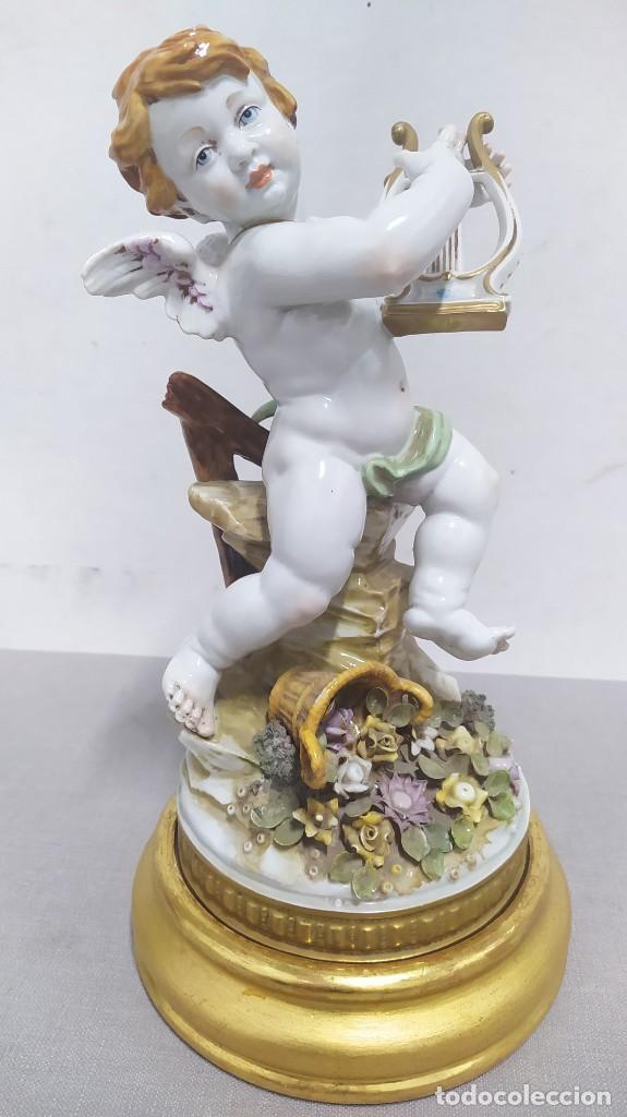 Antigüedades: Ángel de verano, querubín. Porcelana Algora. Sellado en la base. - Foto 2 - 259992255