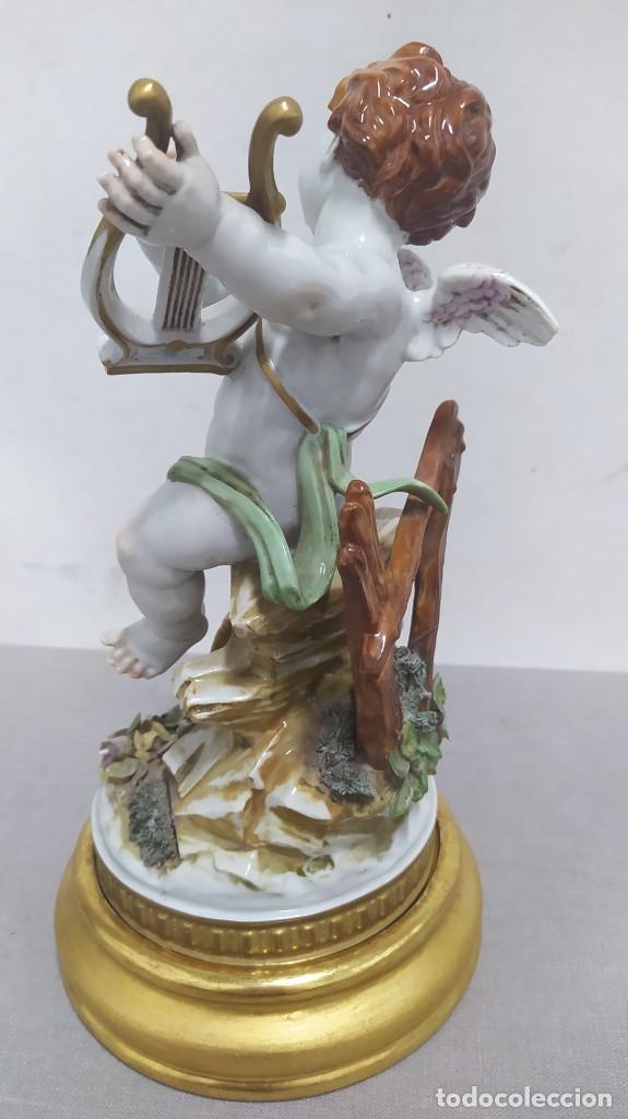 Antigüedades: Ángel de verano, querubín. Porcelana Algora. Sellado en la base. - Foto 6 - 259992255