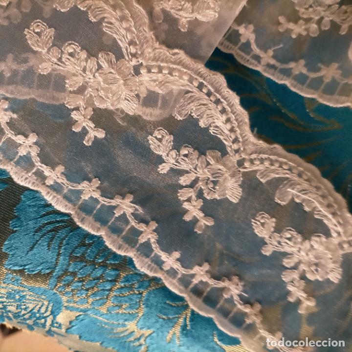 Antigüedades: 4 metros encaje puntilla gasa cristal bordado ideal tocado virgen enaguas traje semana santa alba - Foto 4 - 259999255