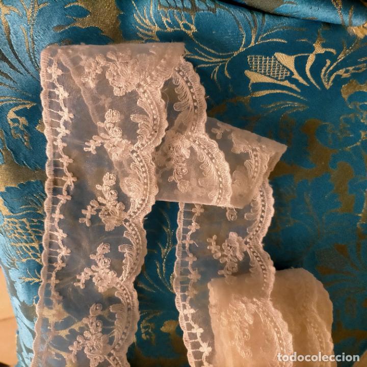 Antigüedades: 4 metros encaje puntilla gasa cristal bordado ideal tocado virgen enaguas traje semana santa alba - Foto 8 - 259999255