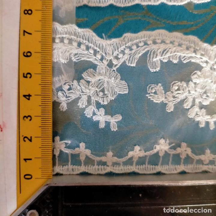 Antigüedades: 4 metros encaje puntilla gasa cristal bordado ideal tocado virgen enaguas traje semana santa alba - Foto 9 - 259999255