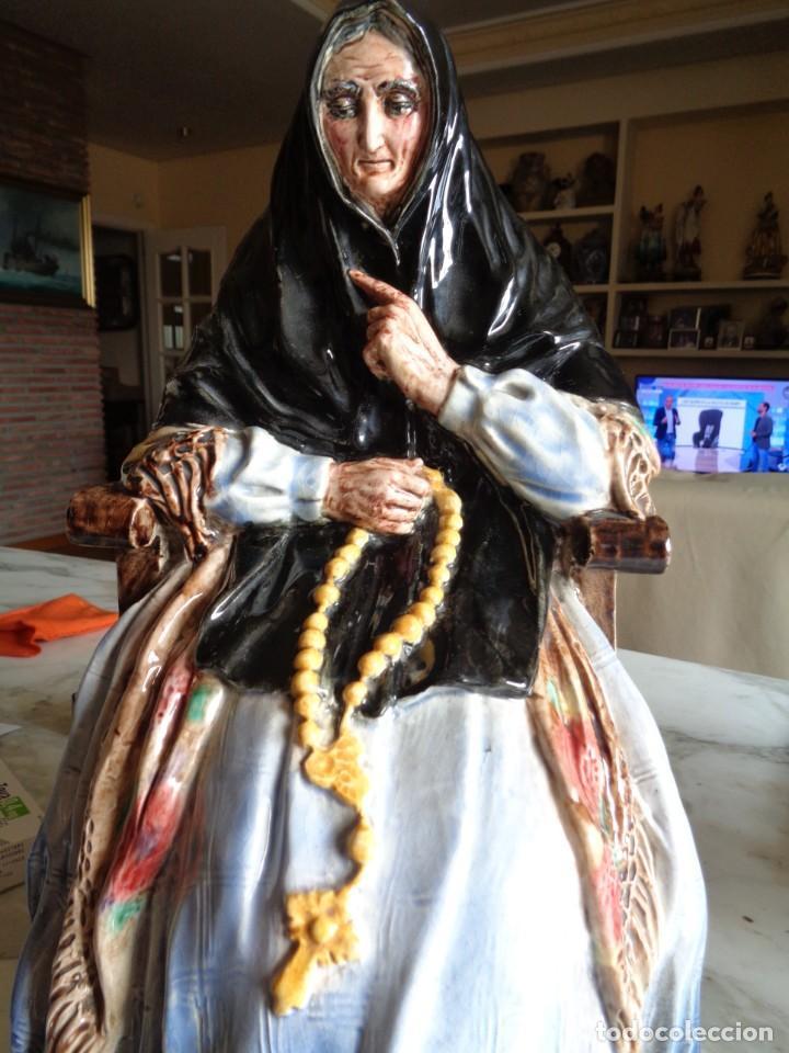 Antigüedades: ANTONIO PEYRO MEZQUITA.MUJER CASTELLANA SENTADA CON ROSARIO - Foto 2 - 260001870