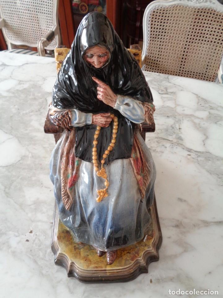 Antigüedades: ANTONIO PEYRO MEZQUITA.MUJER CASTELLANA SENTADA CON ROSARIO - Foto 4 - 260001870