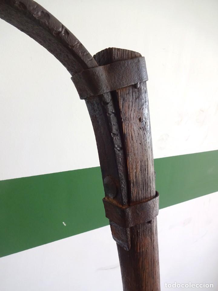 Antigüedades: barras de tiro o tirente de madera de burro para la arada 1,6 metros x 68 cm ganaderia - Foto 11 - 38159933