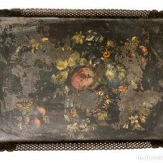 Antigüedades: EXTRAORDINARIA BANDEJA ISABELINA,BODEGÓN DE FLORES, SIGLO XIX, 50 X 37,. Lote 257809385