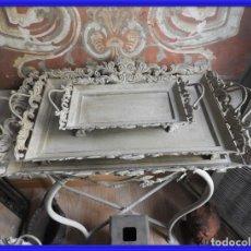 Antigüedades: CONJUNTO DE BANDEJAS METALICAS PARA JARDIN. Lote 260067985