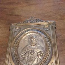 Antiguidades: MARCO ANTIGUO DE BRONCE, DE SAGRADO CORAZÓN DE JESÚS, DEL SIGLO XIII, IDEAL COLECCIONISTA. Lote 260070030